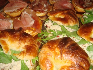 Chicken salad croissants and jamon & fig preserves biscuits